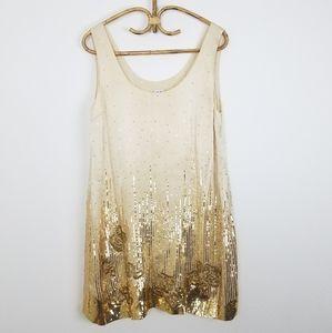 Halston Heritage Gold Silk Sequin Shift Dress 12